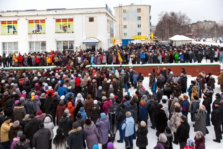 Protest rally in Kandalaksha against rising utility rates  Russia  Murmansk region  February 24, 2013  Only editorial