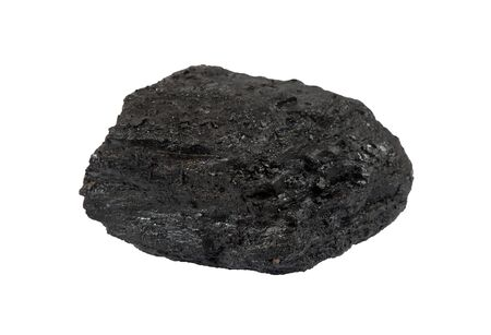 anthracite coal: a lump of coal isolated on white background. Anthracite. Lat. anthracites Stock Photo