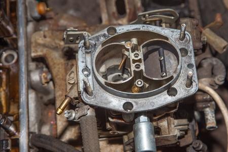 damper: Cars carburetor disassembly. Air damper is closed. top view Stock Photo