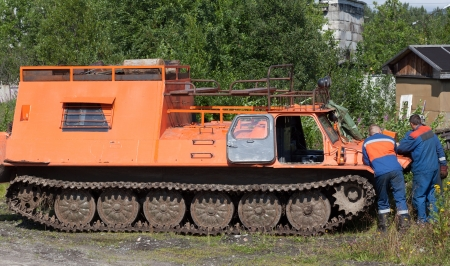 tracked: Tracked all-terrain vehicle to work on power lines during maintenance