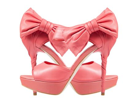 Evening pink shoes with a bow on a high heel. Isolated on a white background. collage photo