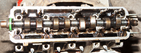 camshaft car with the cover off the cylinder head