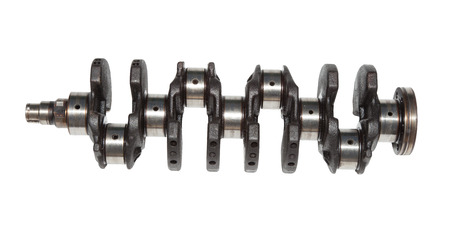 crankshaft in cars with 200,000 miles. Isolated on white background   Stock Photo