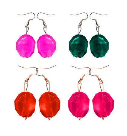 wristlets: Earrings made and glass isolated on white background in different colors. imitation pearl. Collage.