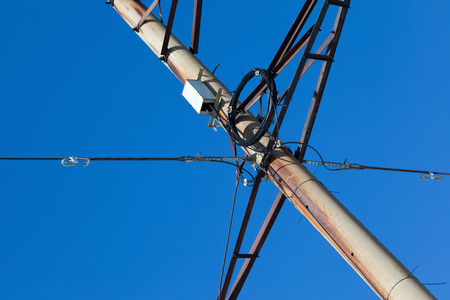 fiberoptic: fiber-optic communications in power line and electricity. new technologies Stock Photo