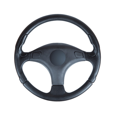 wheels: Steering wheel of a car isolated on white background