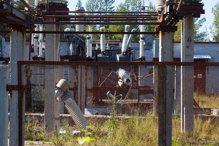 The destruction at the transformer substation as a result of a terrorist act Stock Photo