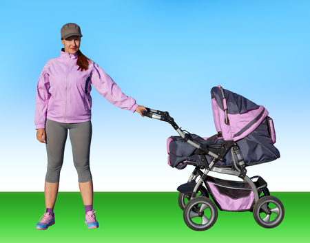 A Young mother athlete with a baby buggy lilac isolated on a blue background. Collage