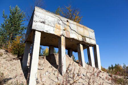 border fortifications retro made of concrete blocks Stock Photo