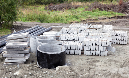 bunch of materials prepared for building construction Stock Photo