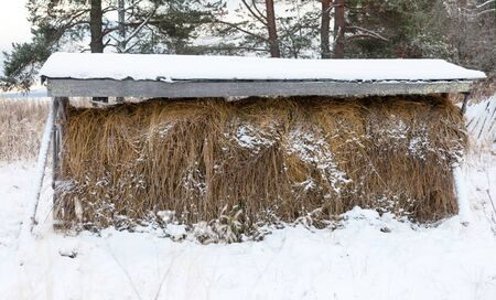 haystack under the roof on the  veshalah Stock Photo