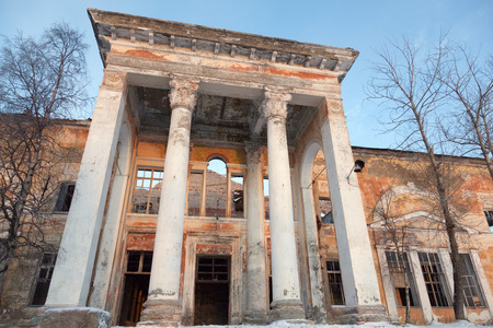 irresponsible: Kandalaksha 03 2016: House officers, Kandalaksha, Russia. Built in 1937, closed by government decree in 2010, destroyed in 2013