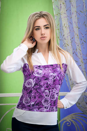 beautiful young girl advertises a dress, a beautiful girl with m