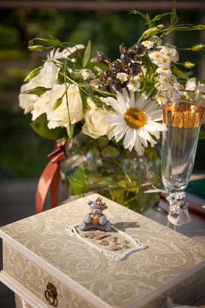 beautiful, luxurious wedding decor of natural colors, flowers, Stock Photo