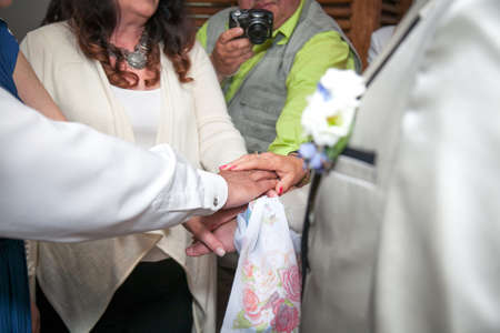 wedding couple holding hands, happy groom and bride, soft touch