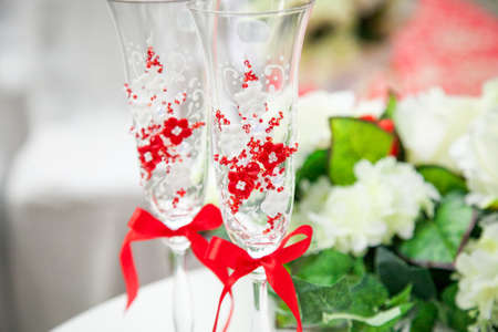 fiancee: Beautiful, gorgeous wedding decoration in red and white colors, flowers