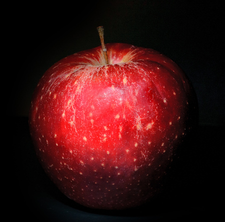 Red fresh apple with on black background Stock Photo
