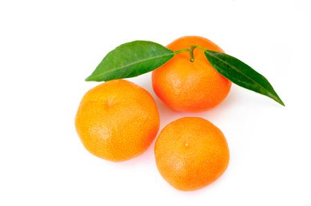 tangerine or mandarin fruit isolated on white background cutout. Stock Photo