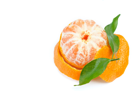 peeled orange fruit on white background