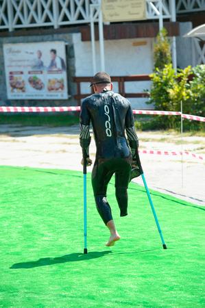 Triathlon Cup of Ukraine and Cup of Bila Tserkva. July 24, 2016 in Bila Tserkva, Ukraine. Paralympic athlete disabled man running on the contest