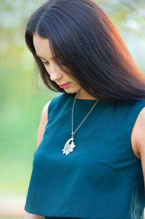 long hair beautiful woman with luxury jewelry necklace on neck. Close-up beauty portrait Banque d'images