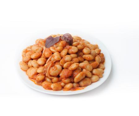 White bean salad. Isolated on white background