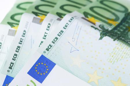 100 Euro banknotes isolated on white background Stock Photo