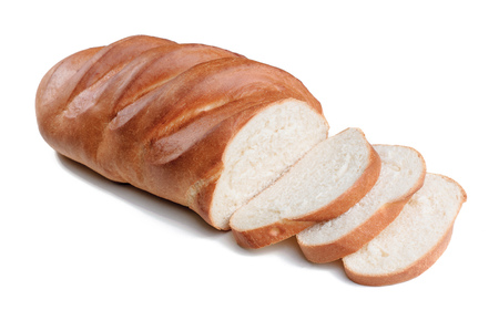 Fresh loaf of bread with sliced isolated on white background