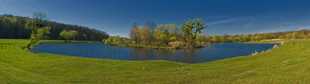 panoramic view of the river makes a turn on the background blue sky and green forest