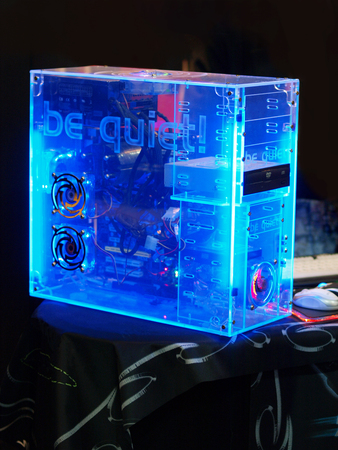 homemade pc tower made of transparent plastic. Idea of noiseless computer from plexiglas