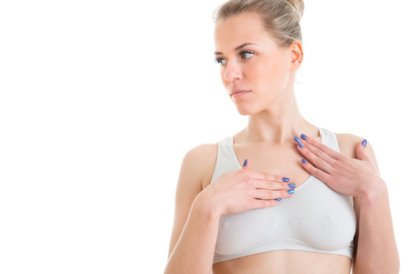 woman Feel body itchy and scratch the itch with hand Concept with Health-care And Medicine.