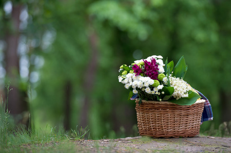 A magnificent bouquet of lilies of the valley and other flowers in a wooden basket in the background of the forest