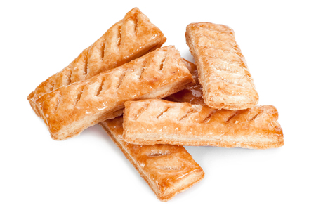 Sugar Puff pastry on a white background Stock Photo