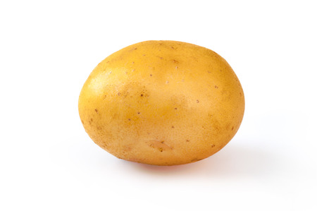 Young yellow potato, isolated on white. Close up Stock Photo
