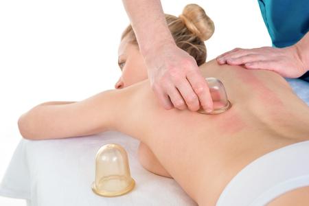Vacuum slimming massage treatment at clinic Stock Photo