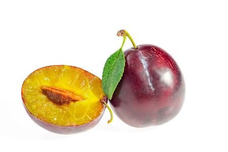 plums, sweet plum isolated on white background cutout