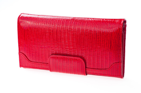 red leather wallet isolated on white background. Stock Photo