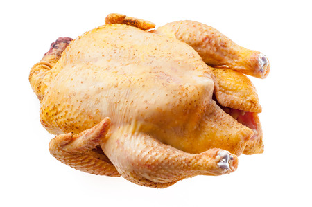 Raw turkey isolated Fresh chicken carcass. fowl on white background