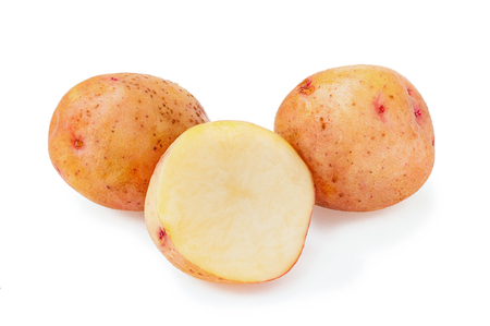 New potato isolated on white background close-up
