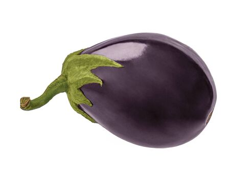 fresh eggplant vegetable with stalk isolated on white background