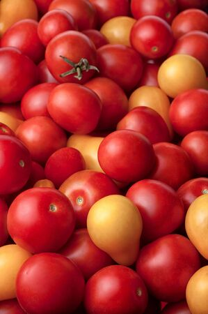 red and yellow tomatoes. Concept of healthy nutrition and vegetarian food . Selective focus.
