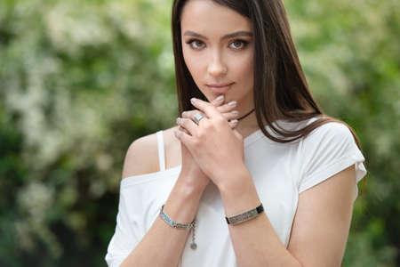 Stylish accessories. Beautiful model girl. Beauty, makeup, cosmetics. Sensual girl with clean perfect skin. Closeup Imagens