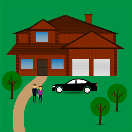 Couple goals with big house and car. vector illustration