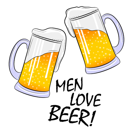 Mugs with a lagert beer and foam. The inscription Men love beer. Vector illustration on white background Illustration