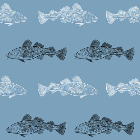 The pattern of sea cod fish. Black and white objects on a blue background. Vector illustration