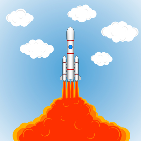 Launch of a space rocket. Drawing rocket, fire, smoke, vector illustration