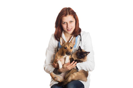 veterinarian with pets on a white background isolated photo