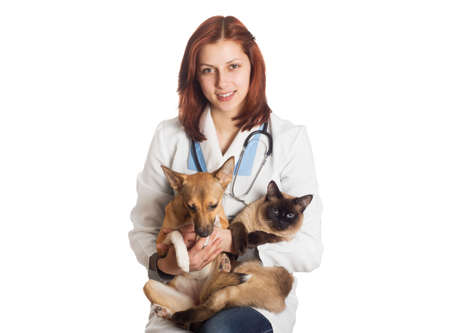 veterinarian holding a cat and a puppy on a white background isolated photo