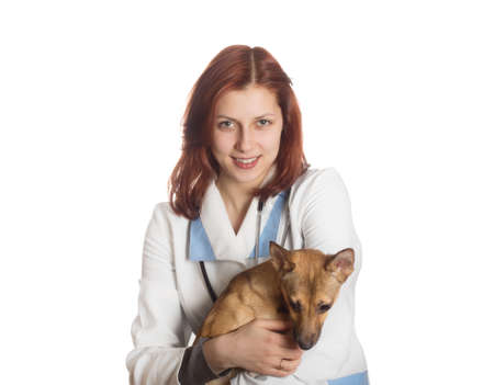 charming young woman veterinarian holding a puppy red on a white background isolated photo