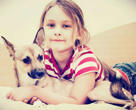 girl and red puppy  photo